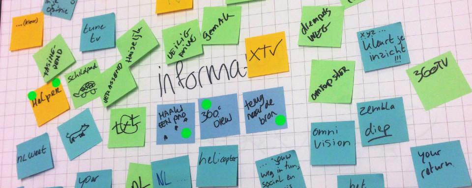 Brainstorm sessie om tot de kern te komen.